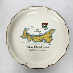 Vintage decorative plate PEI cream yellow gold